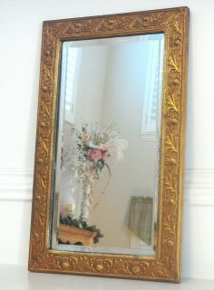 Vintage Metal Embossed Frame Beveled Glass Mirror