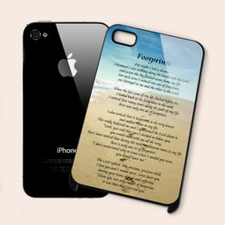 Footprints in The Sand iPhone 4 4S Black Hard Case Cover