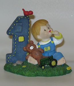 JOHN DEERE ENESCO FIRST BIRTHDAY AGE 1 BOY CAKE TOPPER VERY GOOD