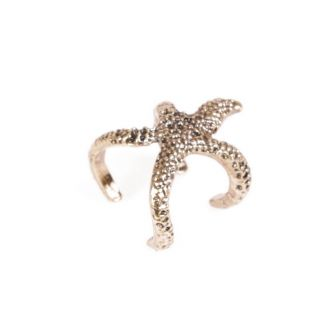 Jewelry   Antique Gold Tone Starfish Star Fish Cuff Style Ring Size 7