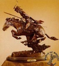 Cheyenne  by Frederic Remington Bronze Handcast Sculpture w Marble
