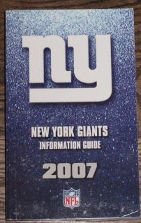 2007 New York Giants NFL Football Media Guide