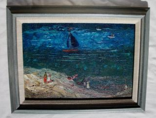 Framed Modernist Oil Painting Blue Lagoon by Richard Hackett 1917 1989