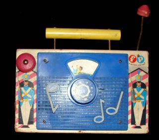 Vintage 1962 Wooden TV RADIO Fisher Price Toys Music Box JACK And JILL