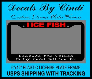 FISHING LICENSE PLATE FRAME Ice Fishing Decal Ice Fishing Equipment