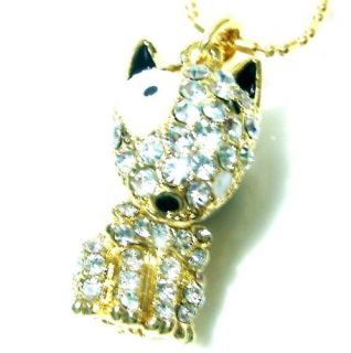 yellow gold pt french bull dog CRYSTAL pendant necklace English