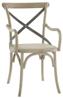 Kasson French Country Paris Cafe Wood Metal Dining Arm Chair