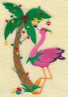 Christmas Palm Tree Flamingo Bird 2 Embroidered Hand Towels by Susan