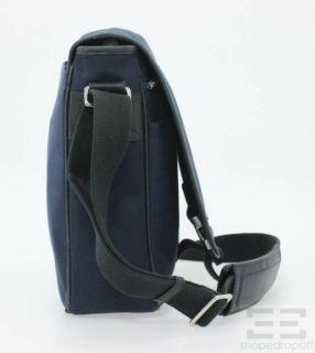 Coach Navy Canvas Black Leather Trim Messenger Flap Bag