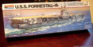 Monogram USS Forrestal 1 600 SEALED Aircraft Carrier Model Kit 1978 No