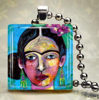 Mexican Folk Art Jewelry Frida Kahlo Necklace Pendant Glass Tile