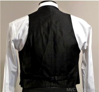 20s Black Silk Formal Waistcoat MOP Vest Studs 40 41