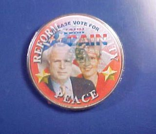 PEACE REFORM FLASHER pin McCAIN PALIN BADGE button WESTMINSTER GAL MD