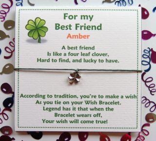 Personalised Best Friendship Wish Bracelet Card Gift