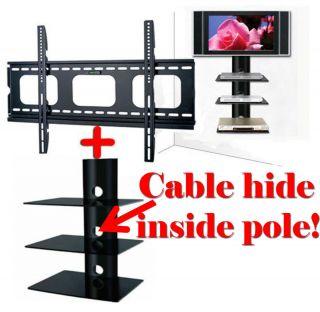 SLIM FLAT TV WALL MOUNT 3 Shelf Glass for HD DVD Audio System Console