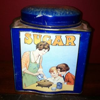 Vintage DODO Scalloped Canister Tin Sugar Dark Blue From Kent England