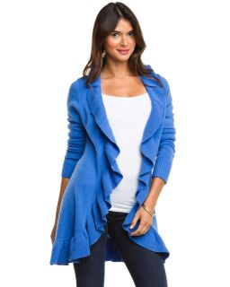 forte cashmere long ruffle trim open cardigan $ 460 00
