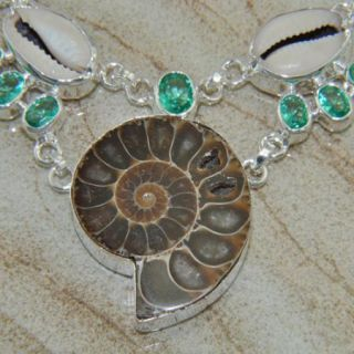 HIGH QUALITY JEWELRY AMMONITE FOSSIL GEMSTONE SILVER NECKLACE 21