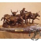 Stampede  by Frederic Remington Bronze Handcast Sculpture w Marble