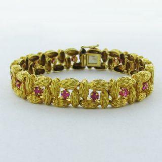 Estate 18K Yellow Gold Ruby Bracelet