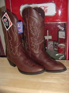 New Justin Brown Leather Cowboy Boots Mens 10 5 D Chocolate Garment