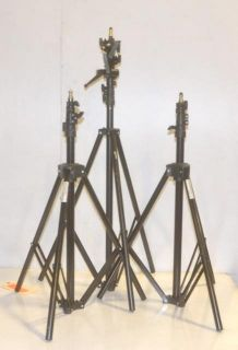 Interfit Impact Lot of 3 Tripod Light Stands in Case COR751