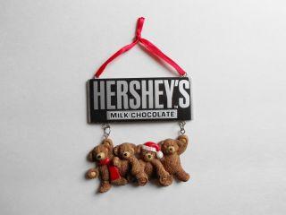 Ornament Bears hanging from Hersheys Milk Chocolate Candy Bar NoBox