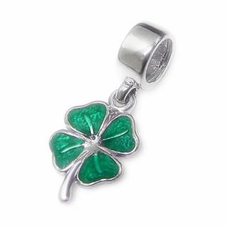 Four Leaf Lucky Clover Shamrock European Charm Bead 925 Sterling