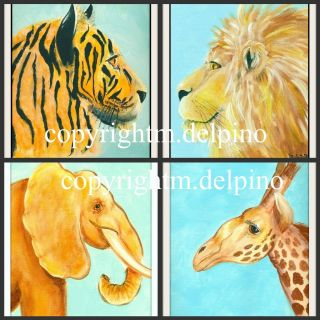 Jungle Nursery theme prints lion tiger giraffe elephant wild animal