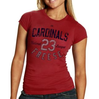 Majestic David Freese St Louis Cardinals Ladies Trophy Man T Shirt Red
