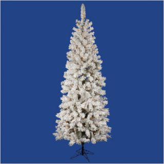Flocked Pacific Pine 102 Artificial Pencil Christmas Tree with LED