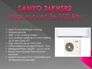 SANYO 36KHS82 36,000 Btu Inverter Heat pump Ductless wall mounted