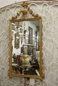 Wood Carved Gold Gilded Flower Urn Venetian Style Framed Mirror
