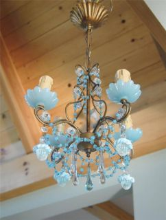 OMG Vintage~French BLUE OPALINE BEADED MACARONI CRYSTAL CHANDELIER