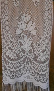 French Lace curtain tulips spring flowers front door panel net patio
