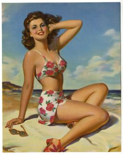 Art Frahm 1950s Pin Up Print Carefree Curvaceous Sun Kissed Bikini