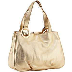 NWT MICHAEL KORS FULTON PALE GOLD LG E W TOTE LEATHER MSRP 298 00