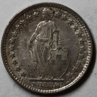 1898 AU Switzerland Silver 1 2 Franc High Grade Example