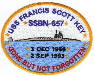 US Navy Submarine Patch USS Francis Scott Key SSBN 657 Y