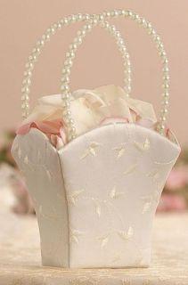 New White Embroidered Wedding Flower Girl Basket
