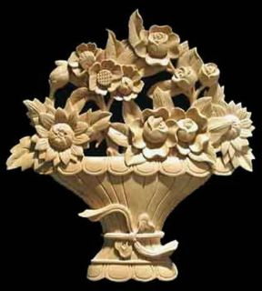 Hand Carved Solid Maple Wood Flower Basket Onlay 10x10