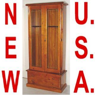 New 12 Shot Gun Rifle Cabinet Display Case Pine Wood 2M