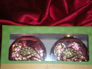 Two Copper Jewels Pearls Flamingo Christmas Ornaments