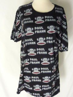 Paul Frank Black Tee Shirt Top L All Over Monkey and Logo Design