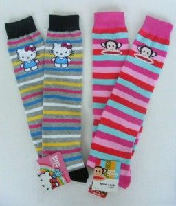 Hello Kitty Paul Frank Julius Monkey Cat Face Striped Knee High Socks