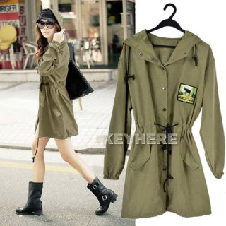 Fashion K0E1 Loose Long Sleeve Mid Length Hooded Trench Coat Outwear