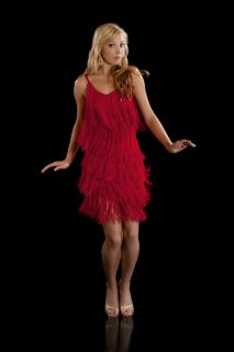 Fringe Flapper Dress 1920s Charleston Ladies Red New