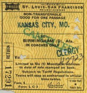 Louis San Francisco Railway Co  Frisco Railroad passenger train ticket