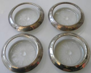 Set Of 4 Frank M Whiting Co Sterling Silver And Glass Coasters 04