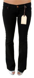 New Frankie B Womens Premium Low Rise Boot Cut Denim Jeans Black